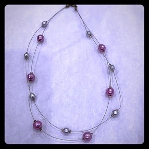 Jewelry - Faux pearl necklace on metal strings